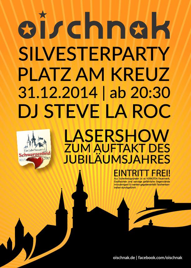 Flyer Silvesterparty am Platz am Kreuz - vorn